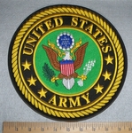 2821 W - United States Army Round Back Patch With Logo - Embroidery Patch