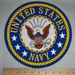 United States Navy Round Back Patch With Logo - Embroidery Patch