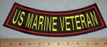 US Marine Veteran - Red - Yellow- Bottom Rocker - Embroidery Patch