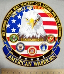 We Honor Those Who Protect Our Nation For Our Freedom - American Eagle With American Eagle - All Armed Forces Logo - Back Patch - Embroidery Patch
