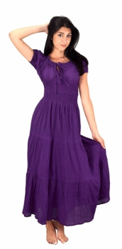 100% Cotton Gypsy Tiered Renaissance Cinched Waist Maxi Dress (Eggplant)