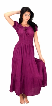 100% Cotton Gypsy Tiered Renaissance Cinched Waist Maxi Dress (Magenta)