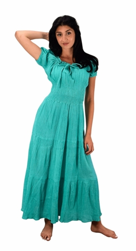 100% Cotton Gypsy Tiered Renaissance Cinched Waist Maxi Dress (Mint)