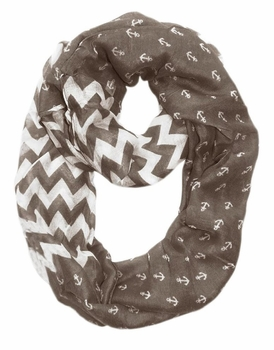All Season's Nautical Anchors Infinity Loop Scarf (Grey Chevron Large)