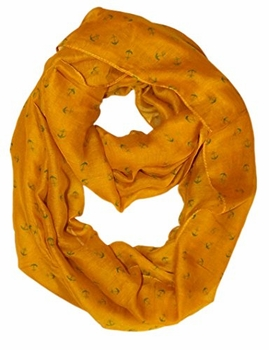 All Season's Nautical Anchors Infinity Loop Scarf  (Mustard)