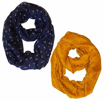 All Season's Nautical Anchors Infinity Loop Scarf 2-Pack Set (Navy/Mustard)