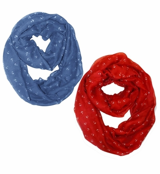 All Season's Nautical Anchors Infinity Loop Scarf  2-Pack Set (Periwinkle Blue/Red)