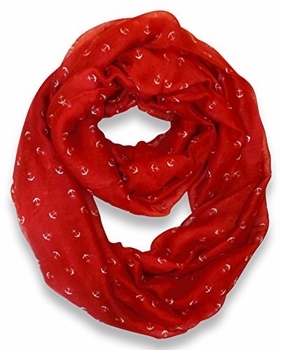 All Season's Nautical Anchors Infinity Loop Scarf  (Red)