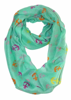 All Season's Nautical Anchors Infinity Loop Scarf (Aqua/Rainbow)