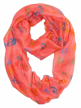 All Season's Nautical Anchors Infinity Loop Scarf (Pink/Rainbow)