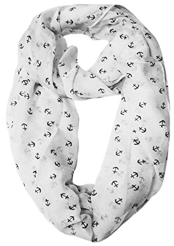 All Season's Nautical Anchors Infinity Loop Scarf (White)