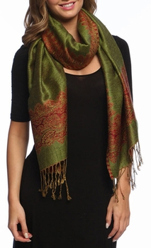 Ravishing Reversible Pashmina Shawl with Braided Fringe (Army Green and Red)
