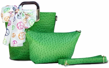 Ostrich Emboss Two Piece Tote & Satchel Tied Scarf Handbag (Green)