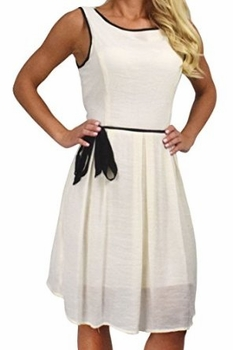 Beautiful Holiday Fabric Skater Dress Criss Cross Back & Tie Belt (Cream)