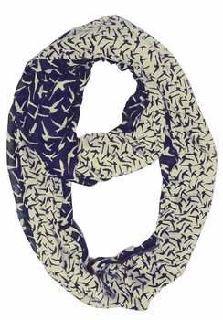 Beautiful Vintage Two Colored Bird Print Infinity Loop Scarf (Navy and Cream)
