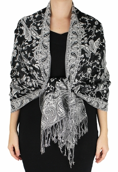 Sophisticated Reversible Paisley Floral Shawl (Black/White)