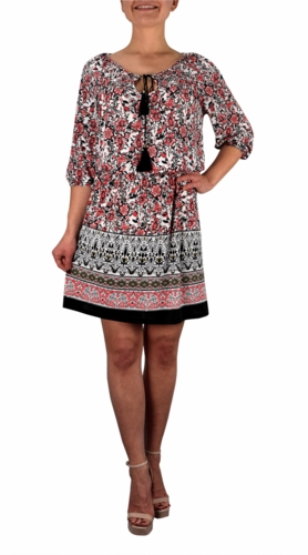 Bohemian Floral Pattern Long Sleeve Coral Midi Dress with Tassels