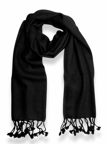 Classic Solid 100% Cashmere Scarf (Black)