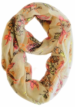 Cherry Blossom Floral Print Infinity Loop Scarf (Peach)