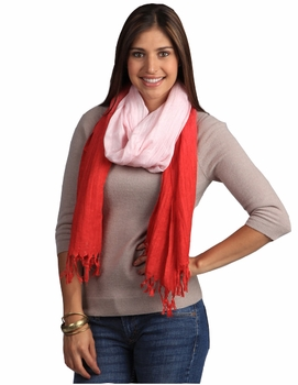 Multicolored Faded Ombr� Faded Cotton Tie Dye Scarf (Red/Baby Pink)