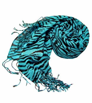 Stylish Striped Zebra Print Scarf (Turquoise)