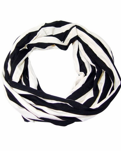 Classic Striped Infinity Loop Scarf (Black/White)