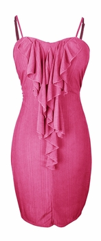 Cocktail Party Ruffled Center Dress (Fuchsia)
