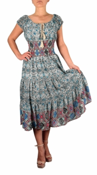 Damask Print Neck Tie  Tiered Summer Midi Dress (White/Blue)
