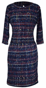 Elegant Black and Multi Printed � Sleeve Loose Mini Shift Dress (Navy)