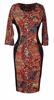 Elegant Black and Multi Printed � Sleeve Loose Mini Shift Dress (Paisley Orange)