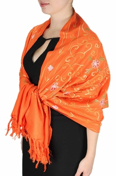 Elegantly Hand Embroidered Floral Design Pashmina Shawl (Orange)