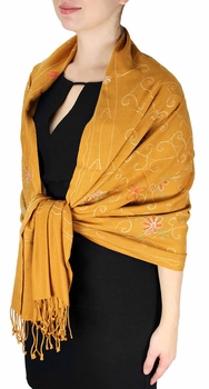 Elegantly Hand Embroidered Floral Design Pashmina Shawl (Rust)