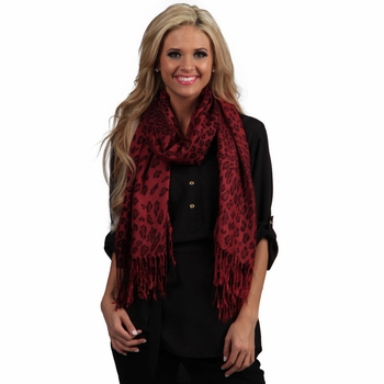Exotic Leopard Print Pashmina (Red/Black)