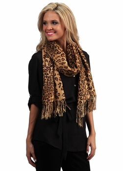 Exotic Leopard Print Pashminas (Brown)