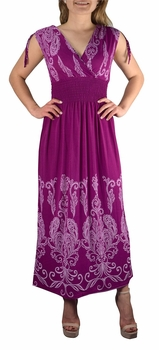 Exotic Tahiti Multicolor Border Print Maxi Dress (Paisley Magenta and White)