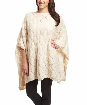 Extra Thick Crochet Knit Diamond Weave Batwing Shawl Wrap Poncho (Cream)