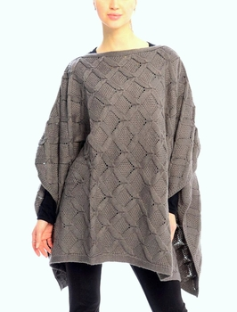 Extra Thick Crochet Knit Diamond Weave Batwing Shawl Wrap Poncho (Grey)