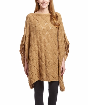 Extra Thick Crochet Knit Diamond Weave Batwing Shawl Wrap Poncho (Tan)