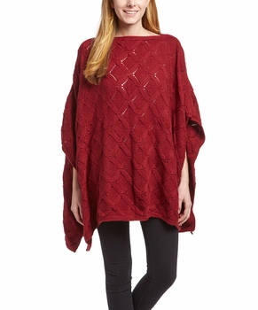 Extra Thick Crochet Knit Diamond Weave Batwing Shawl Wrap Poncho (Wine)