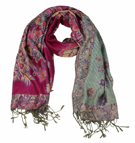 Floral Peacock Reversible Pashmina Wrap Shawl Scarf (Hot Pink)