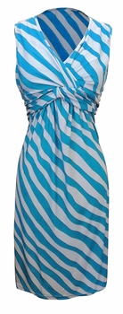 Fun and Trendy Knotted Tank Sleeveless Striped Mid Length Sundress (Blue &  Light Grey, Small)