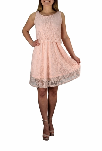 Lace Overlay Sleeveless Mini Solid Color Summer Dress (More Colors)