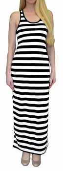 Light Beach Summer Striped Racerback Maxi Dress Sundress (Black and White)
