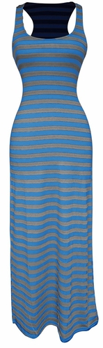 Light Beach Summer Striped Racerback Maxi Dress Sundress (Grey and Blue)