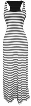 Light Beach Summer Striped Racerback Maxi Dress Sundress (Grey and White)