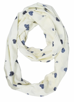 Lightweight Vintage Lovely Keys and Hearts Print Infinity Loop Scarf