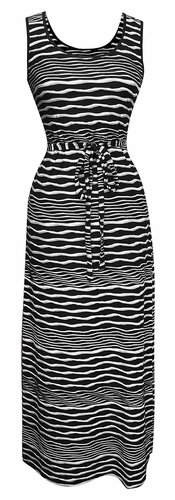 Long Striped Zig Zag Chevron Print Spring Summer Sleeveless Sundress (Nautical Black)