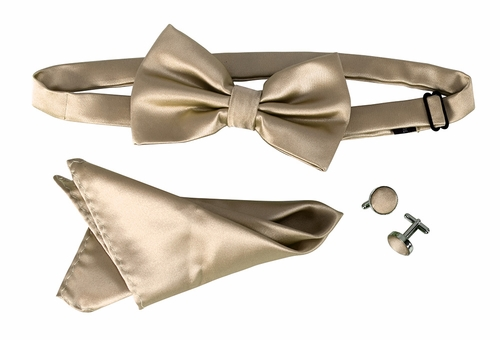 Men's Pre Tied Bow Tie Pocket Square Handkercheif Set Solid Gold