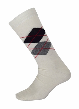 Men�s Soft and Warm Comfortable Long Argyle Cashmere Socks (Off White)