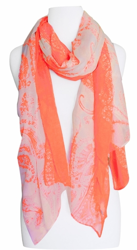 Multi Color Paisley Print Vintage Chic Sarong Scarf (Neon Orange/Ivory)